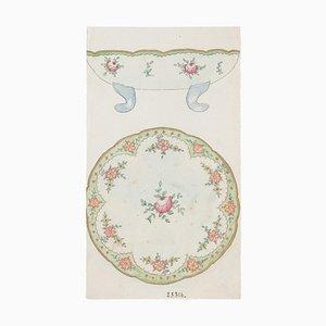 Unknown - Backsplash in Porcelain - Original China Ink and Watercolor - 1890er