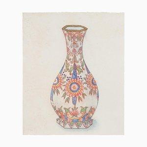 Unknown - Vase en Porcelaine - Encre de Chine Original et Aquarelle - 1890s