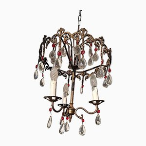 Antique Italian Brass and Glass Chandelier