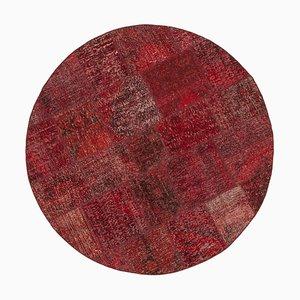 Vintage Red Round Patchwork Rug
