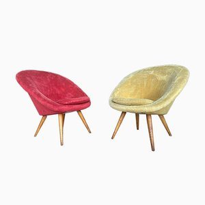 German Mohair Lounge Chairs, 1960s, Set of 2