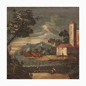 Antike Italienische Malerei Seestück, 18. Jahrhundert