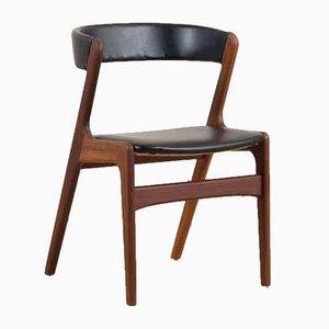 Vintage Fire Style Chair in Black Aniline Leather from Korup Stolefabrik, Denmark, 1960s