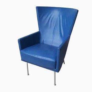 Vintage Blue Leather Armchair