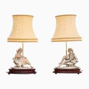 Vintage Italian Capodimonte Porcelain Table Lamps, 1960s, Set of 2