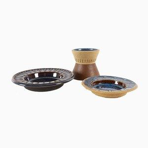 Blau Glasierte Keramik Aschenbecher von Einar Johansen für Søholm, 1960er, 3er Set
