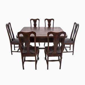 Antique European Dining Table & Chairs Set, 1920s, Set of 7