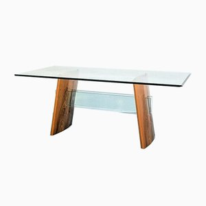 Glass and Wood Dining Table, 1980s
