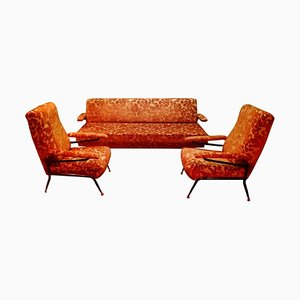 Living Room Set with Sofa & Chairs, 1960s, Set of 3