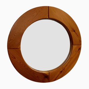 Scandinavian Solid Pine Wood Mirror, 1970s