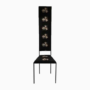 Mid-Century Iron and Silk Dining Chair, Italy, 1960s