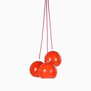 Lampada a sospensione sferica vintage in metallo rosso, anni '60