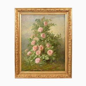 Große Rosen Blumenstillleben, spätes 19. Jahrhundert, Öl auf Leinwand