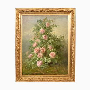 Large Roses Flower Still Life, Late 19th Century, Oil on Canvas