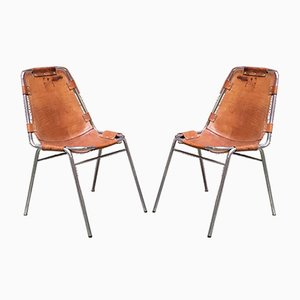 Mid-Century Modern French Leather Les Arcs Chairs by Charlotte Perriand, 1970s, Set of 4