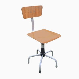 Industrial Stool with Backrest, 1970s