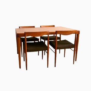 Table de Salle à Manger en Chêne avec Quatre Chaises par Henry W. Klein pour Bramin Møbler, 1970