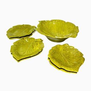 Italian Leaf Pottery Salad Set from Ars Ceramica, 1970s, Set of 7