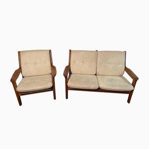 Mid-Century Teak Chair & 2-Seater Sofa by Gustav Thams for Vejen Polstermøbelfabrik, Set of 2