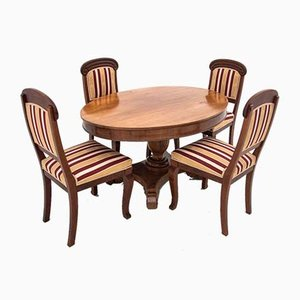 Antique Dining Table & Chairs Set, Set of 5