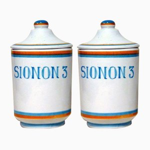 Vintage Ceramic Apothecary Vases from Deruta, 1960s, Set of 2
