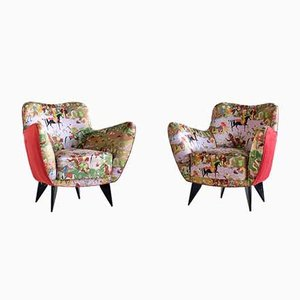 Chinoiserie Pearl Fabric Armchairs by Giulia Veronesi for ISA Bergamo, 1952, Set of 2