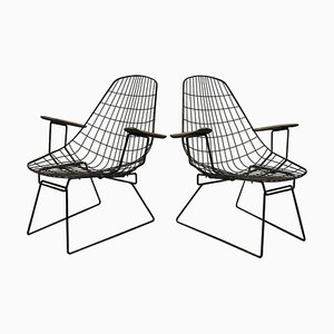 Black Wire Easy Chairs with Wooden Armrests, 1960s, Set of 2