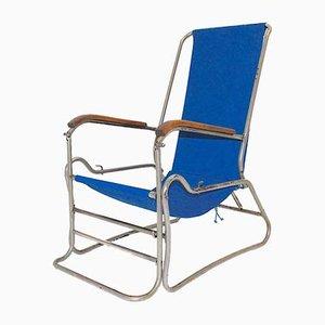 Verchromter Stahlrohr Chaiselongue mit blauem Leinensitz, 1929