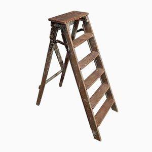 Vintage Stufenleiter aus Holz, 1970er