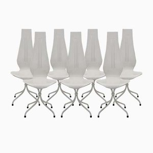 White Dining Chairs by Theo Häberli, 1960s, Set of 7