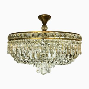 Oval Crystal Ceiling Lamp, 1960s