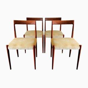 Dänische Mid-Century Mohairüberzogene Esszimmerstühle, 1960er, 4er Set
