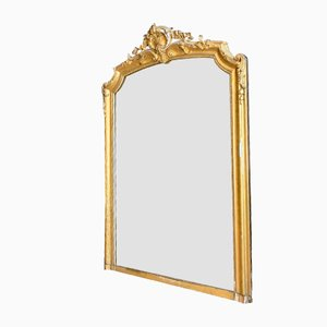 Wooden Mirror with Golden Stucco, 19th Century