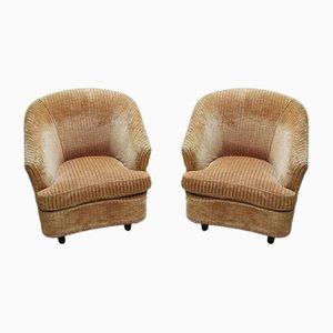 Velvet Lounge Chairs by Gio Ponti for Casa e Giardino, 1950s, Set of 2