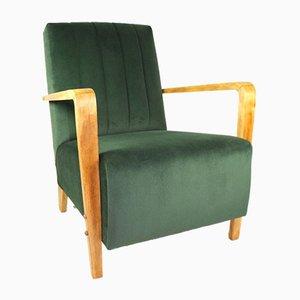Olive Velvet Armchair, 1970s
