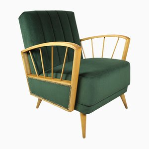 German Olive Velvet Armchair, 1970s