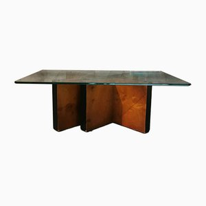 Italian Walnut, Glass and Brass Coffee Table, 1960s
