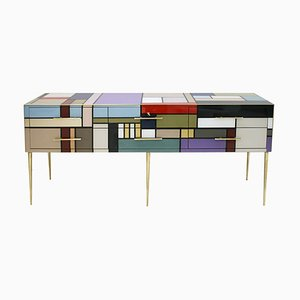 Italian Murano Glass and Brass Sideboard