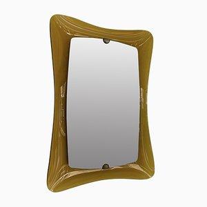 Specchio in vetro curvo ambrato di Cristal Art, Italia, anni '60