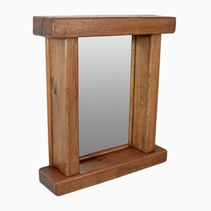 Brutalist Oak Mirror, 1960s