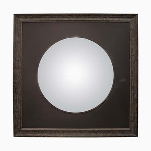 Black French Convex Mirror with Black Wooden Frame, France, 2008