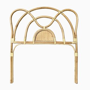 Mid-Century Bamboo and Rattan Single Headboard Bed, 1960s