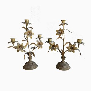 Vintage Gilt Brass Church Candle Holders, Set of 2