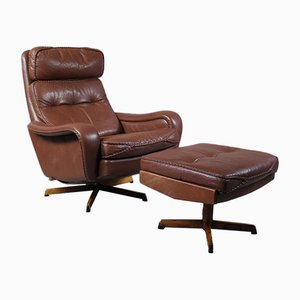 Mid-Century Danish Leather & Rosewood Swivel Lounge Chair and Ottoman by Madsen & Schübel, Set of 2