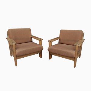 Fir & Fabric Armchairs, 1970s, Set of 2