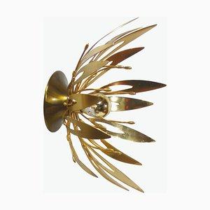 Goldene Blumen Wandlampen, 1970er, 2er Set