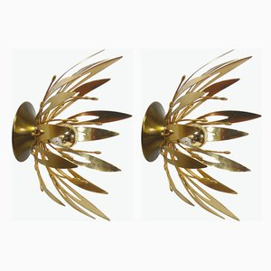 Golden Flower Sconces, 1970s, Set of 2