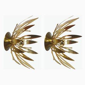 Golden Flower Sconces, 1970s, Set of 2