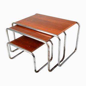 Bauhaus Style Tubular Steel Nesting Tables, 1940s, Set of 3