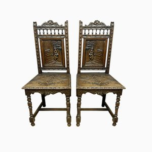 Solid Oak Dining Chairs, 1850s, Set of 4